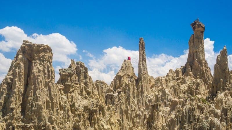 Unique geological formations cliffs shapes, Moon Valley park, La Paz mountains, Bolivia tourist travel destination. The Andes stock photo