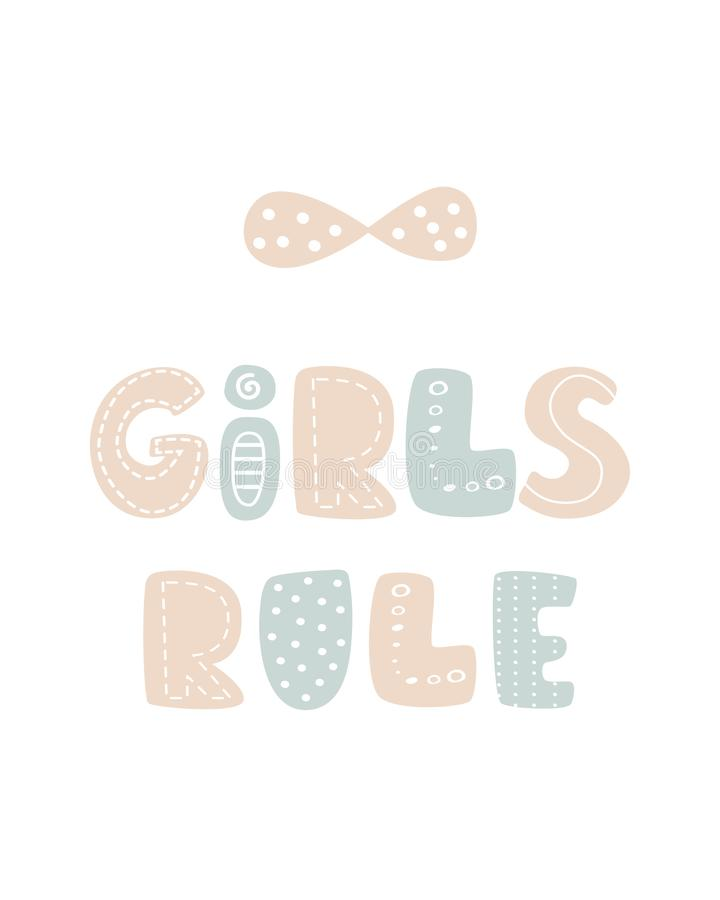 Unique Girls rule colored nursery hand drawn poster lettering scandinavian style stock illustration