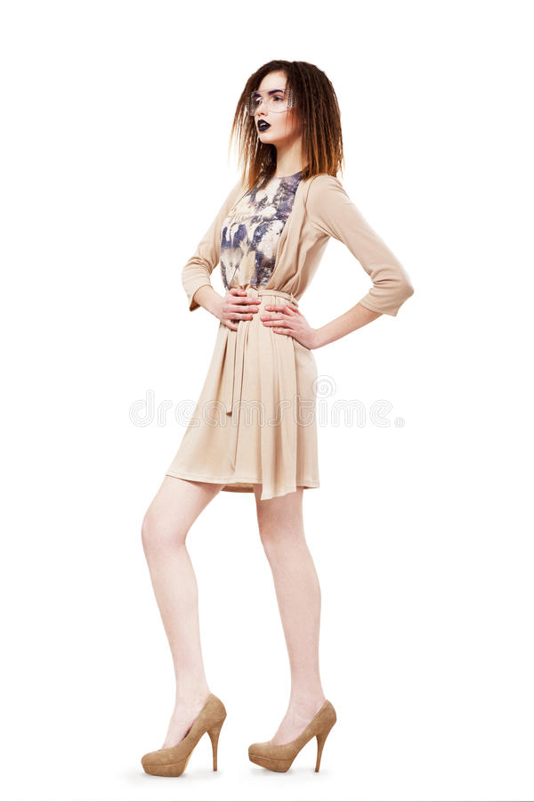 Free Unique. Glamour. Modish Slim Brunette In Glasses. Brown Dress & Shoes Royalty Free Stock Photo - 29593335