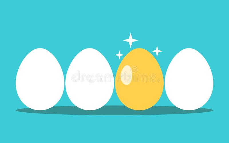 Unique gold egg, row. Unique gold egg in row of white ones on turquoise blue background. Opportunity, profit, investment, luck and success concept. Flat design vector illustration