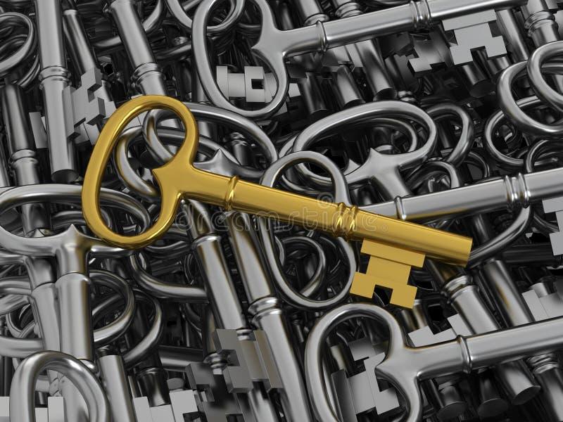 Unique golden key vector illustration