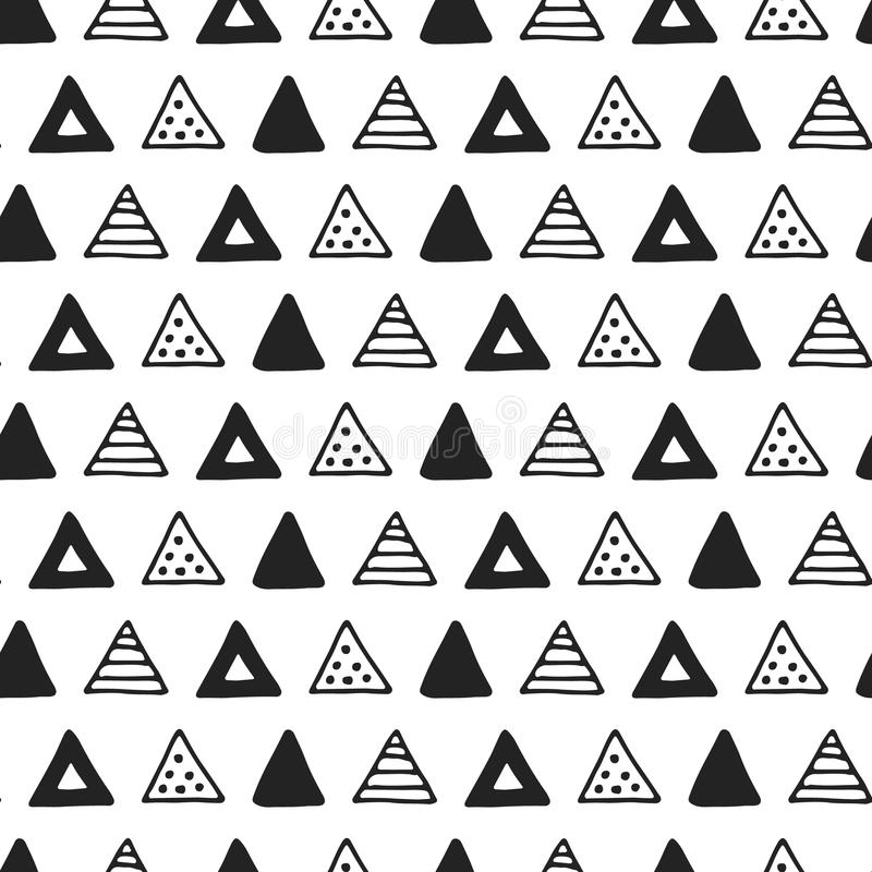 Unique hand drawn seamless pattern with abstract shapes. Vector illustration in monochrome scandinavian style.  vector illustration