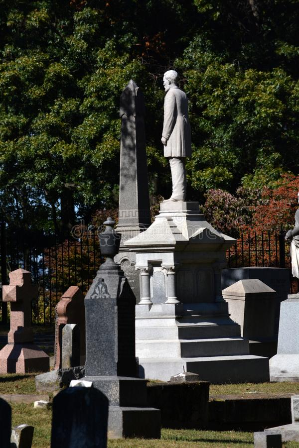 Captain Logan. A unique headstone in one of the oldest cemeteries in West Virginia shows a complete full length likeness of a prominent riverboat captain royalty free stock images