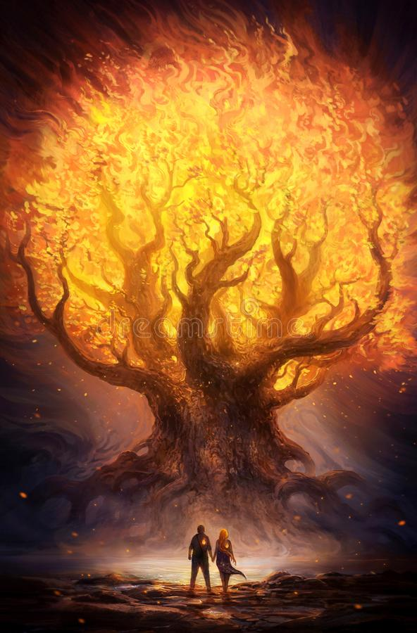Unique illustration of a glowing fiery tree in an abstract fantasy land. Artistic unique illustration of a fiery bright glowing tree in an abstract fantasy land stock illustration
