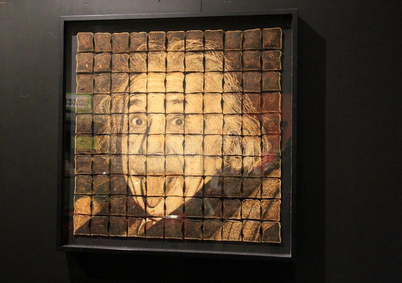Unique exhibit of Einstein`s face made with burnt toast, Rochester Science & Museum Center, New York, 2017 stock image