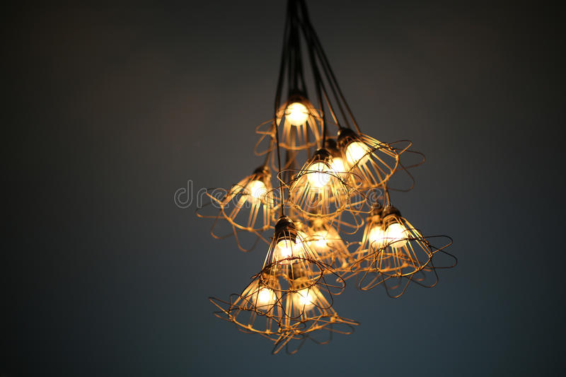 Unique lamp. Hanging on the ceiling stock photos