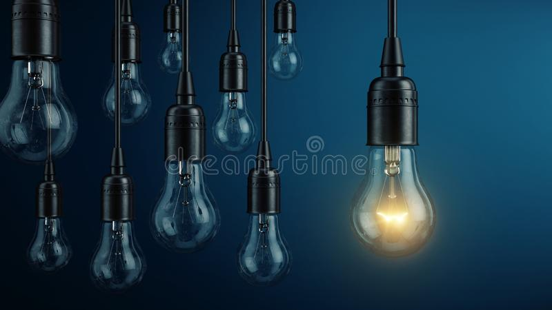 Unique, leadership, new idea concept - One light bulb lamp glowing different and standing out from other light bulbs lamps. 3d rendering stock illustration