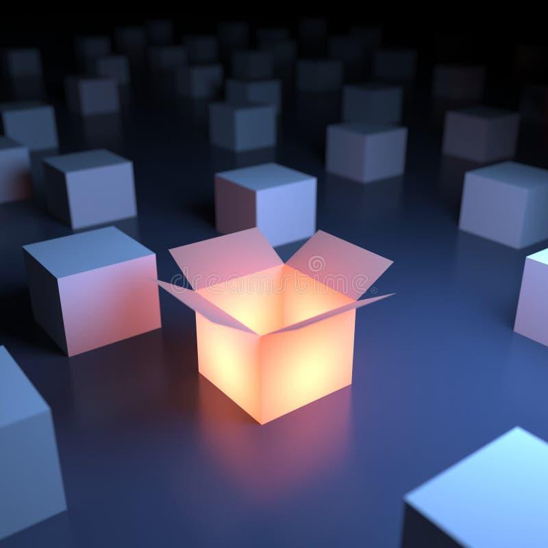 Unique luminous box. Unique luminous opened box. 3d abstraction royalty free illustration