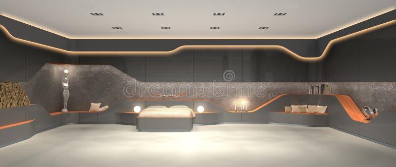 Unique luxurious futuristic modern interior design of bedroom. 3D rendering of vanguard luxurious futuristic modern interior design of bedroom stock photography
