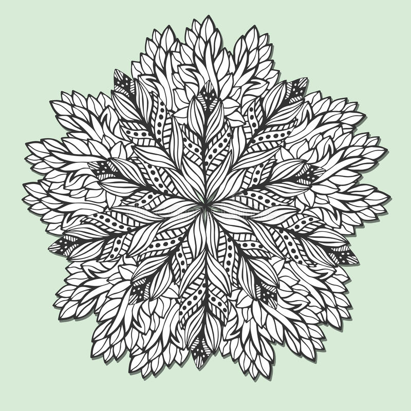 download unique mandala with leaves round zentangle for coloring book pages circle ornament pattern - Zentangle Coloring Book