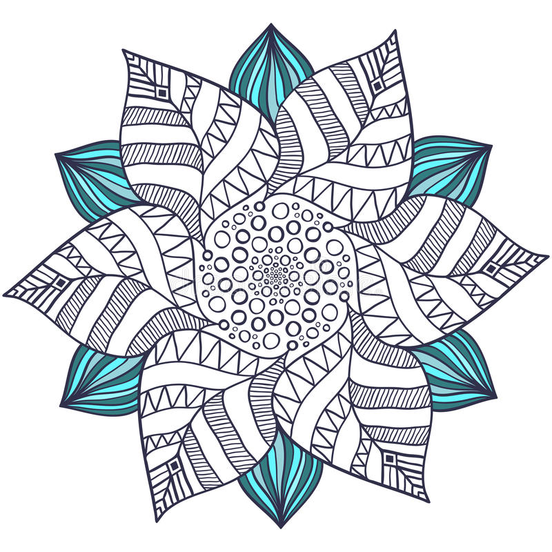 Unique Mandala Vector In Floral Style. Circle Zentangle ...