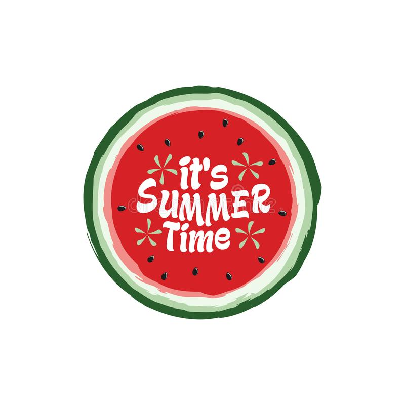 Unique Modern Watermelon Summer Time Design Background Banner Template with Text It`s Summer Time vector illustration
