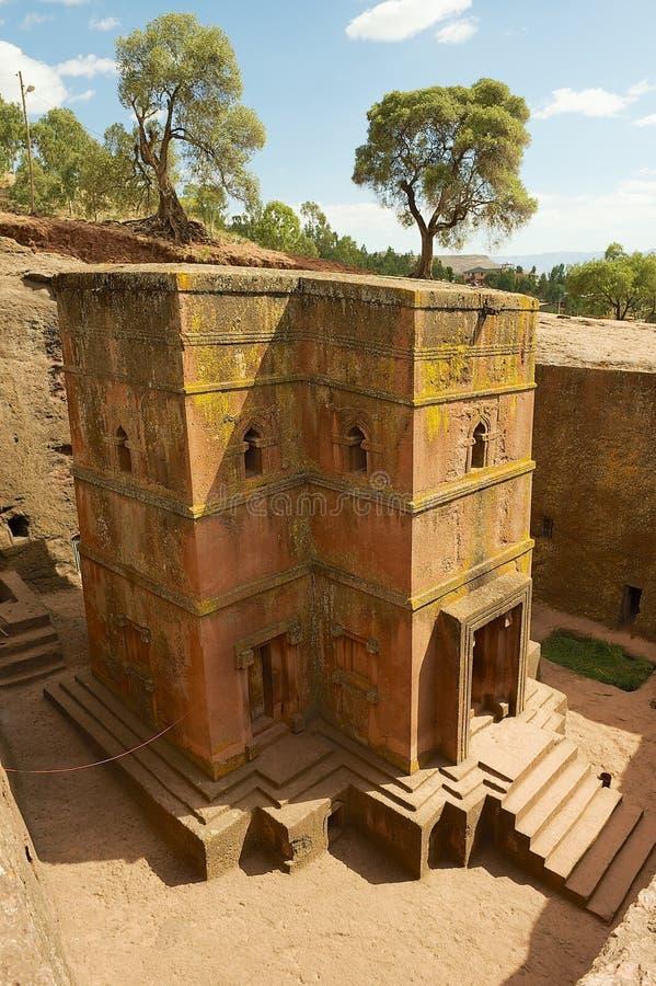 Unique monolithic rock-hewn Church of St. George Bete Giyorgis, Lalibela, Ethiopia. royalty free stock photo