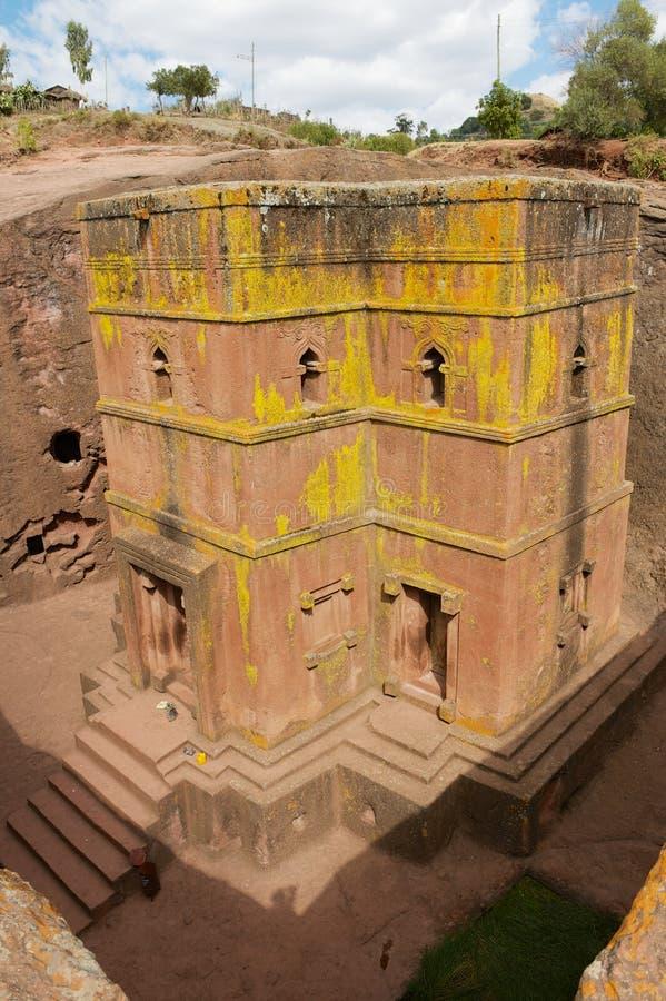Unique monolithic rock-hewn Church of St. George Bete Giyorgis, UNESCO World heritage, Lalibela, Ethiopia. royalty free stock photo