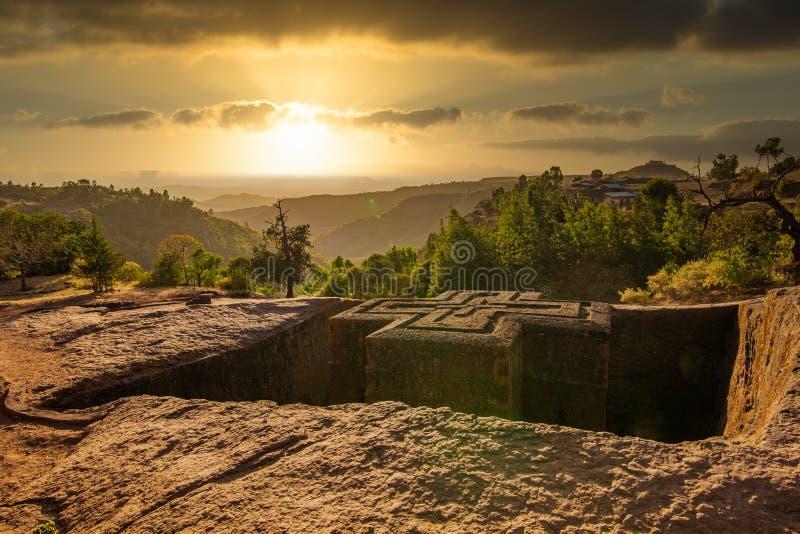 Sunset at the church of St. George Bete Giyorgis, Lalibela, Ethiopia royalty free stock photos
