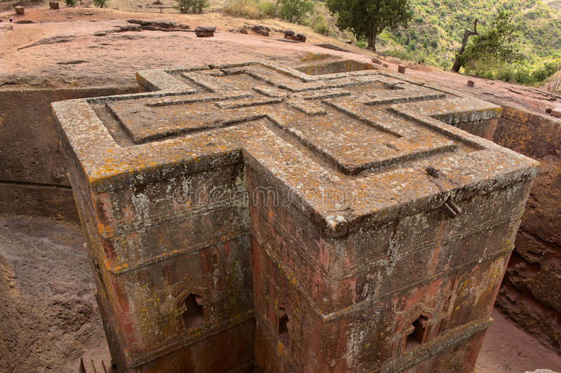 Unique monolithic rock-hewn Church of St. George, UNESCO World heritage, Lalibela, Ethiopia. Unique monolithic rock-hewn Church of St. George (Bete Giyorgis) royalty free stock images