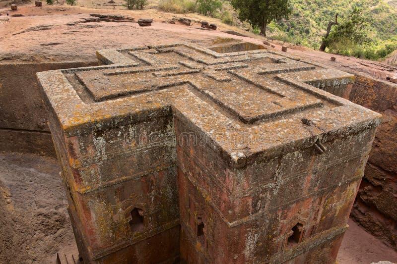 Unique monolithic rock-hewn Church of St. George, UNESCO World heritage, Lalibela, Ethiopia. royalty free stock images