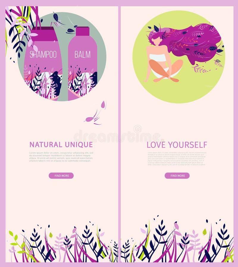 Unique naturel de bannière plate verticale Amour vous-même illustration stock
