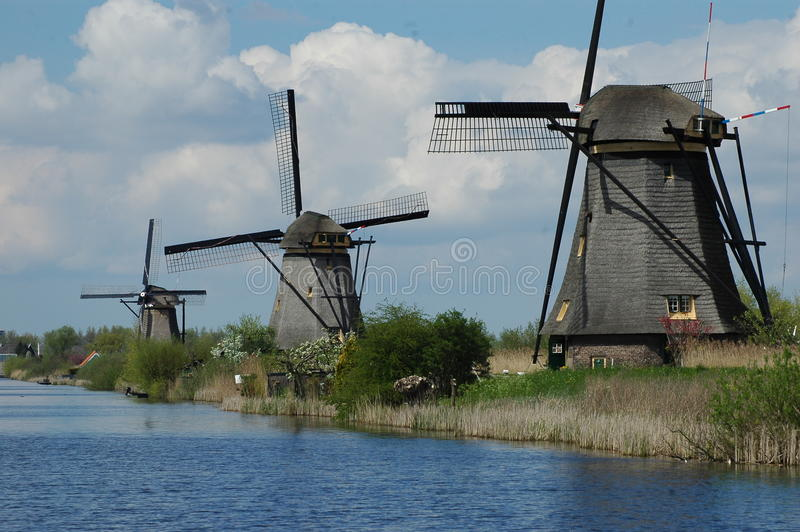 Unique panoramic view on windmills in Kinderdijk, Holland royalty free stock images