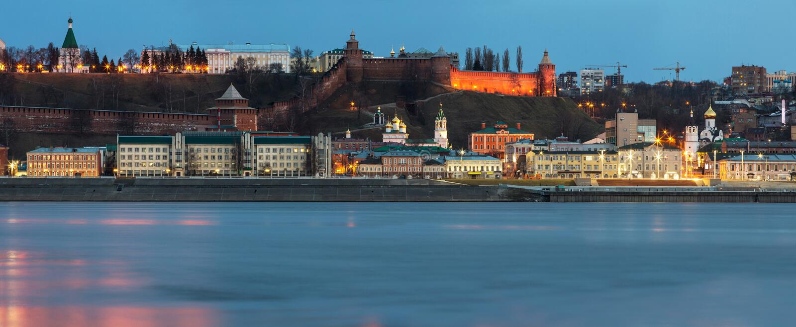 A unique perspective of Nizhny Novgorod in the evening with the city lights. On against the backdrop of a beautiful sky and sunset royalty free stock photography
