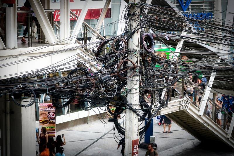 Power Cable in Bangkok Thailand royalty free stock photo