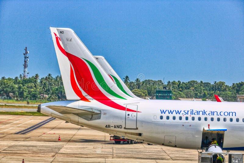 Airplane at Bandaranaike International Airport Colombo Airport stock photo