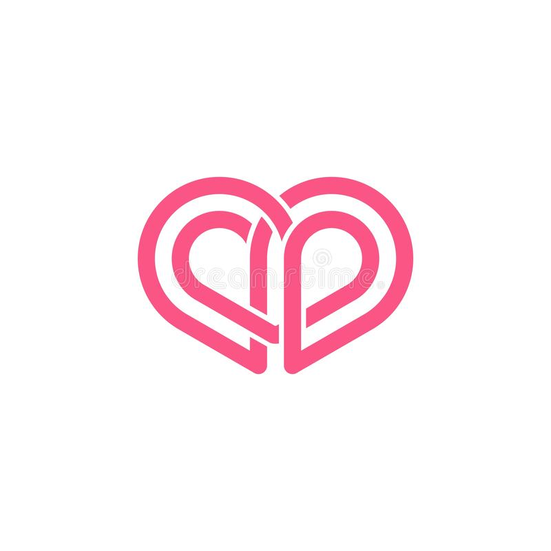 Abstract love shape logo. Unique pink love shape logo vector illustration