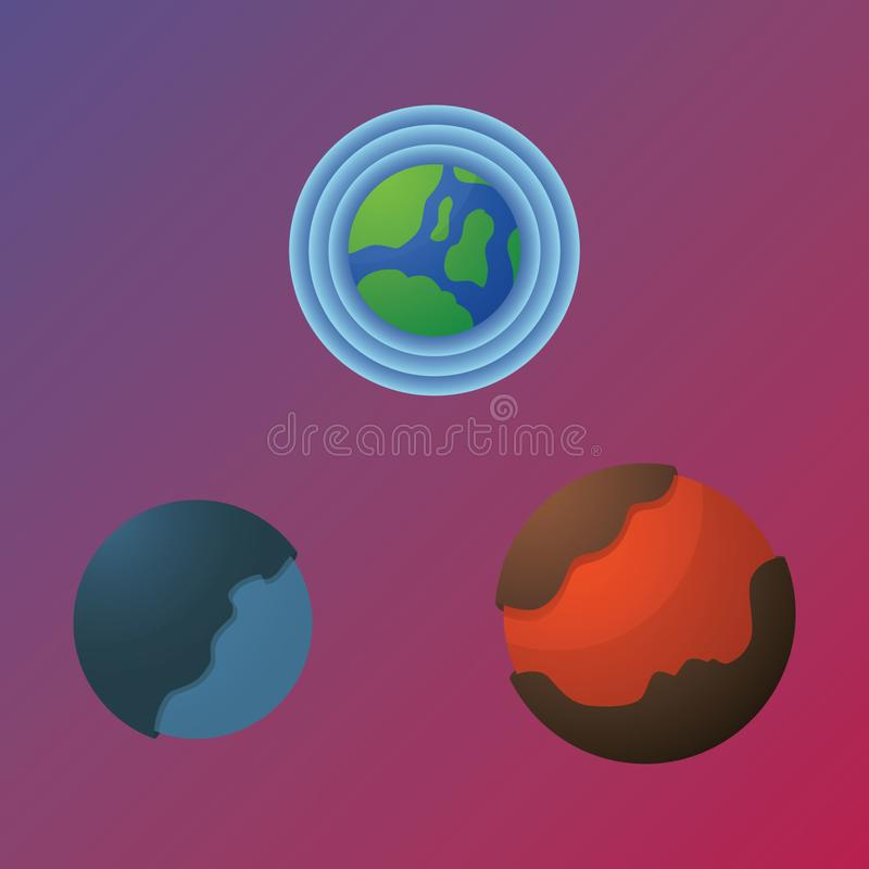 Three unique planet at space stock photography