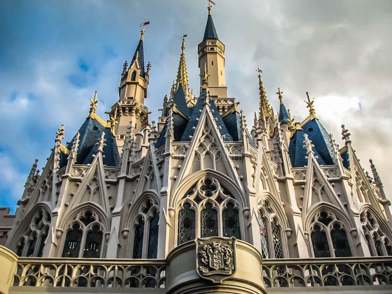 Iconic Castle Walt Disney World Magic Kingdom. Unique prospective of Cinderella`s castle at Walt Disney World`s Magic Kingdom in Orlando Florida stock photos