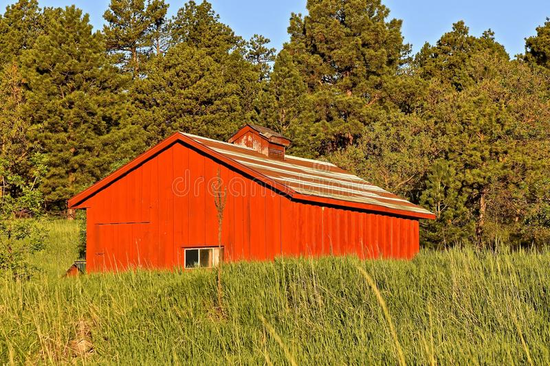 Old red shed or barn stock photography