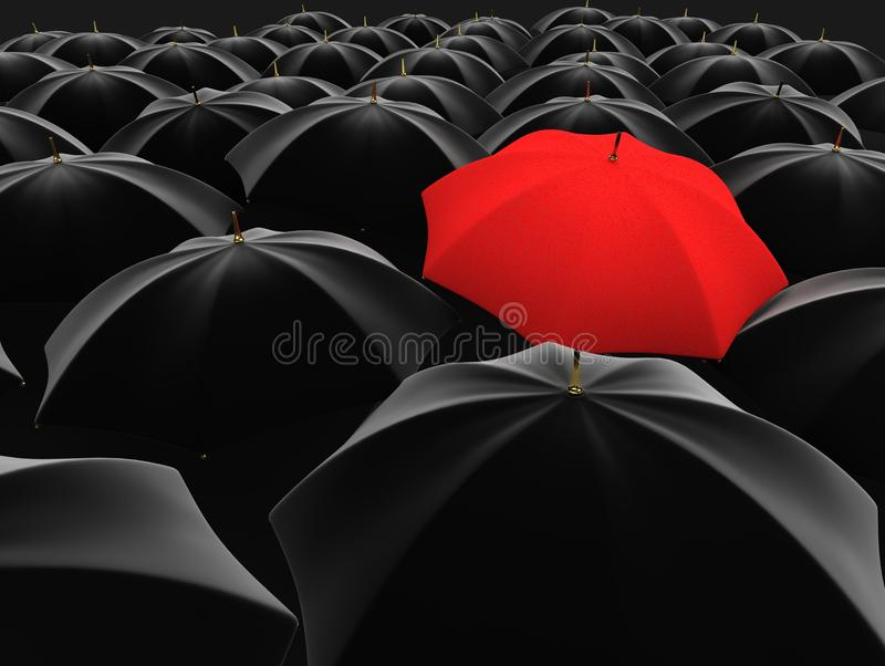 Unique red umbrella stock illustration