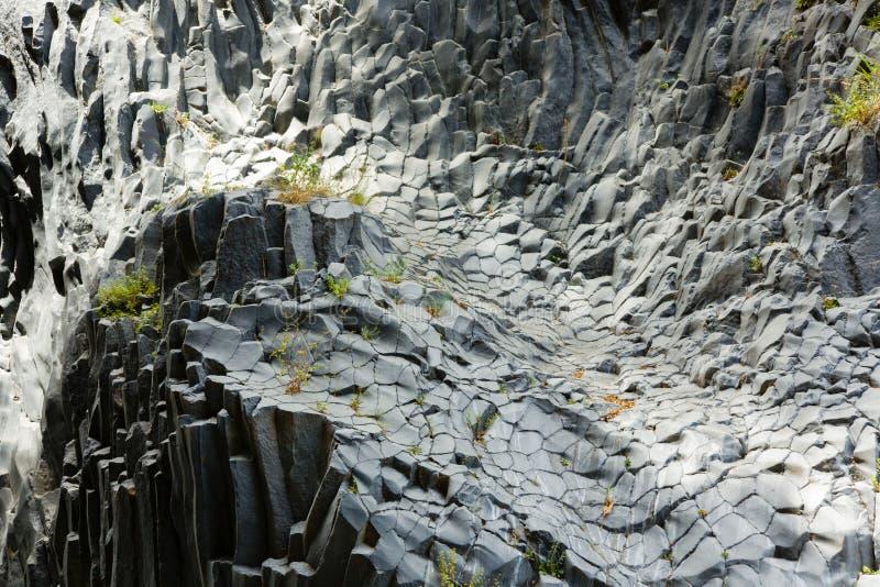 Unique rock column formations of the lava of Etna volcano, in Alcantara, Sicily, Italy royalty free stock photos