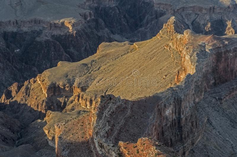 Valleys and ravines make up the landscape of The Grand Canyon. Unique rock formations make up the Grand Canyon stock images