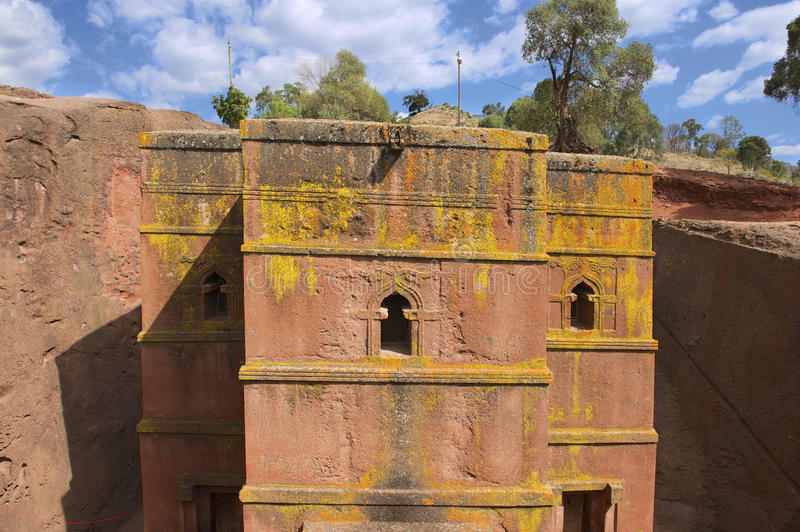 Unique rock-hewn Church of St. George (Bete Giyorgis), UNESCO World heritage, Lalibela, Ethiopia. Unique monolithic rock-hewn Church of St. George (Bete royalty free stock photo