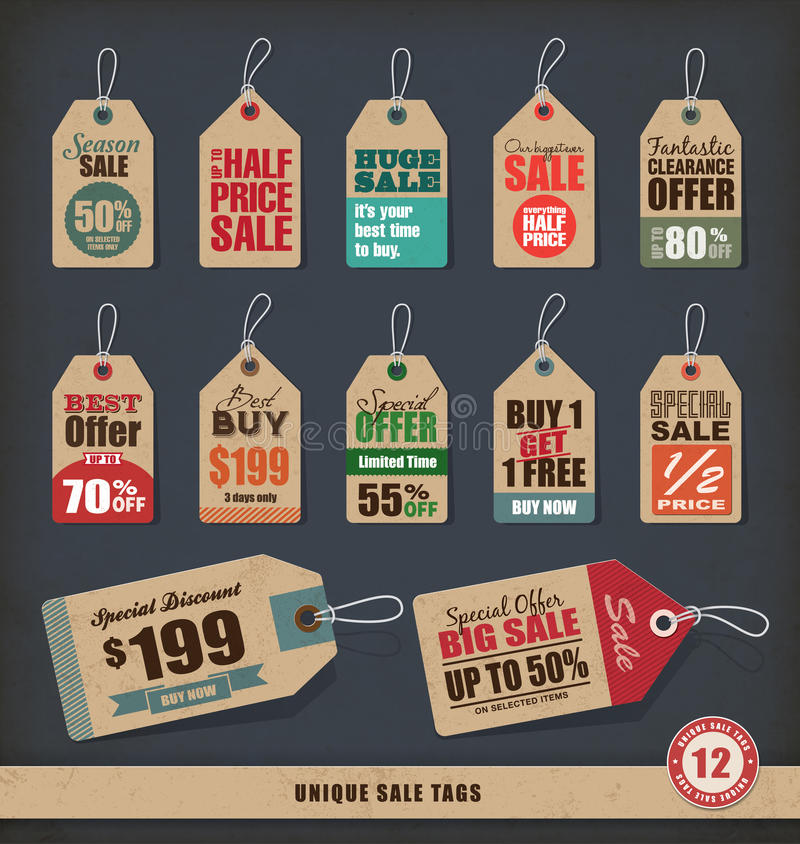 Unique Sale Tags royalty free illustration