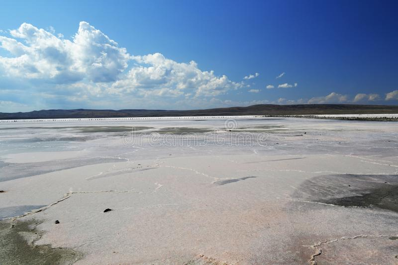 Unique salt lake Chokrak. The unique nature of the sea of Azov. The beauty of the earthly world. Birds fly South stock photography