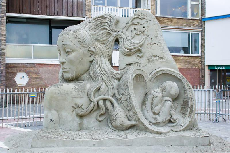 Unique sand sculpture in Zandvoort aan zee beach. Zandvoort is a Dutch coastal town west of Amsterdam. The town is a popular seaside resort, thanks to its long royalty free stock image