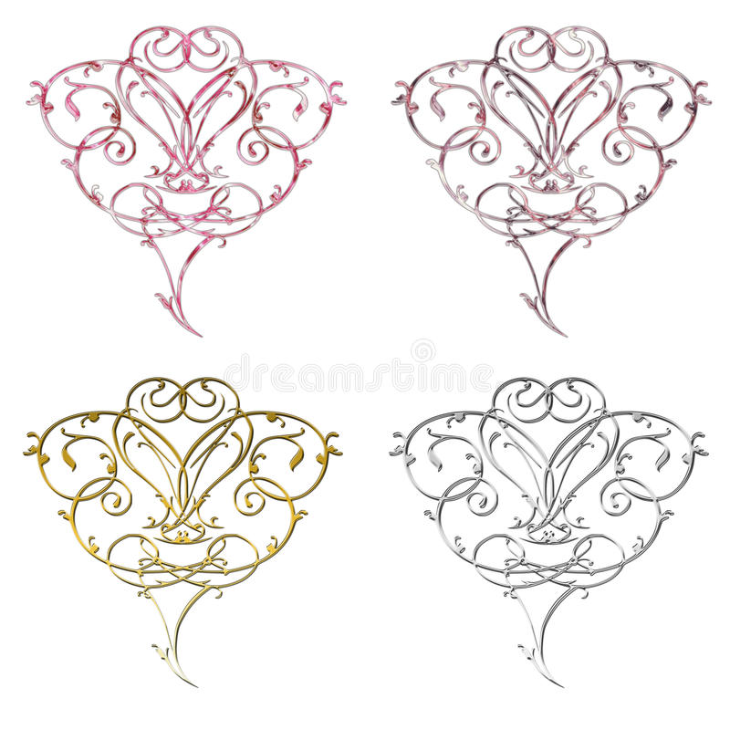 Download Unique Scolled Hearts Stock Image - Image: 12724311