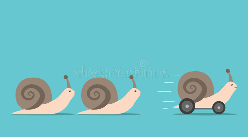 Unique snail with wheels. Unique successful fast moving snail with wheels in front of some slow ones. Competition, competitive advantage and innovation concept vector illustration