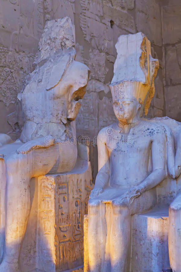 Unique statues in artificial lighting (Luxor, Egypt) royalty free stock image