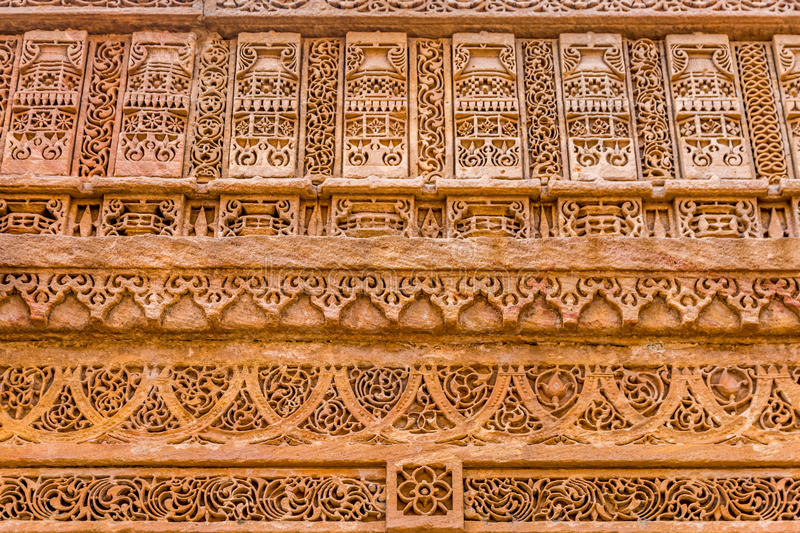 Unique stone carving at Adalaj ni Vav. royalty free stock image