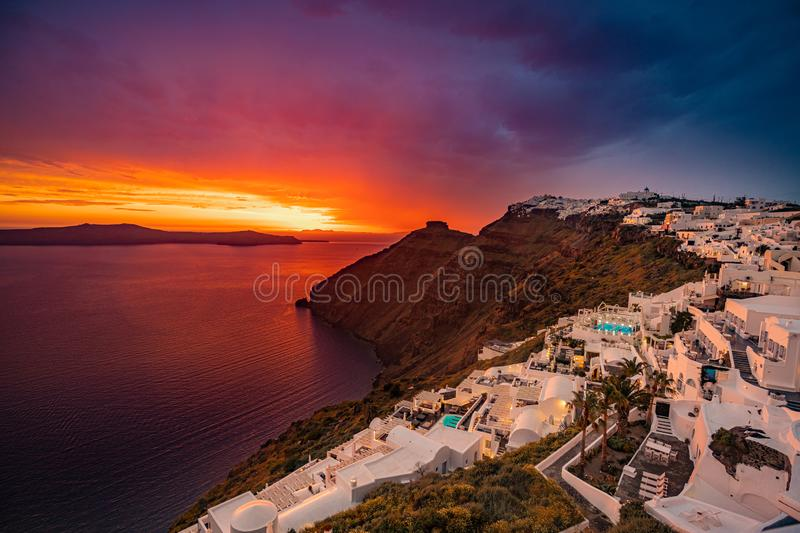 Unique Sunset Colors at Santorini Island,  Greece, one of the most beautiful travel destinations of the world royalty free stock photography
