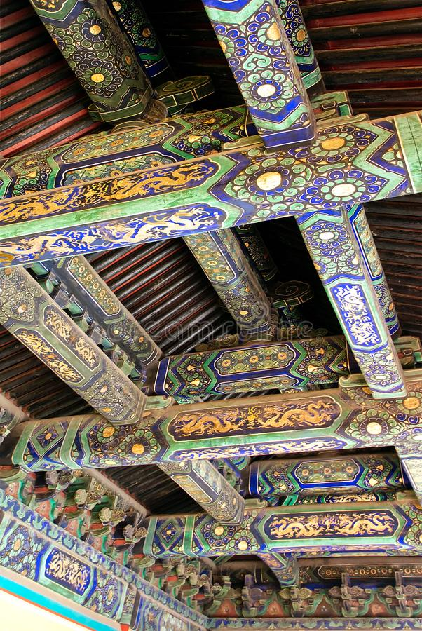 Unique temple ceiling with traditional patterns. Chinese ancient Temple of Heaven. Asian architectural background. Beijing. UNESCO World Heritage Site stock photo