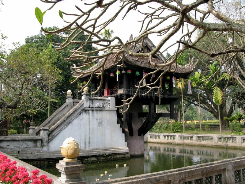 Unique Temple of Lotus Flower. One Pillar Pagoda or Secret Pagoda is another name Dien Dien Tu or Lien Hoa Dai which possesses a unique architectural stock photos
