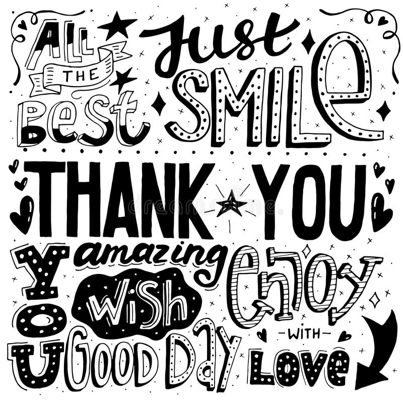 Unique thankful card with hand drawn lettering and calligraphy with many phrases and words. Vector illustration stock illustration