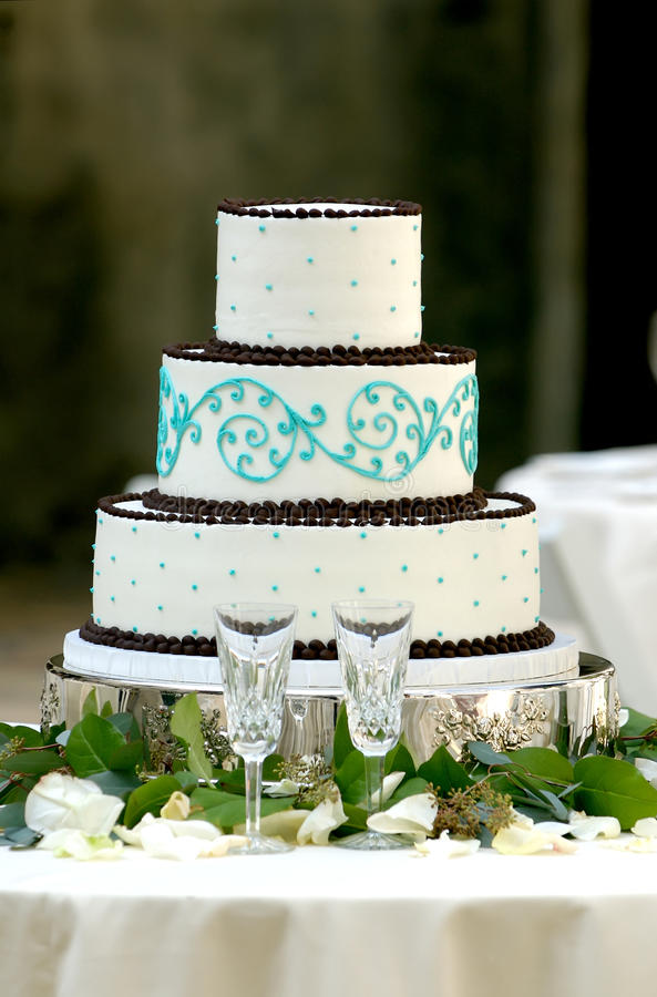 Unique Three Tiered Wedding Cake royalty free stock photography