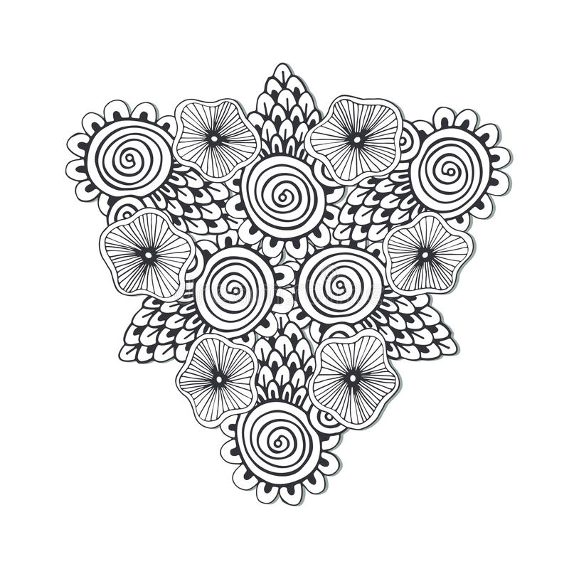 Unique Triangle Mandala With Flowers Zentangle Hand Drawn