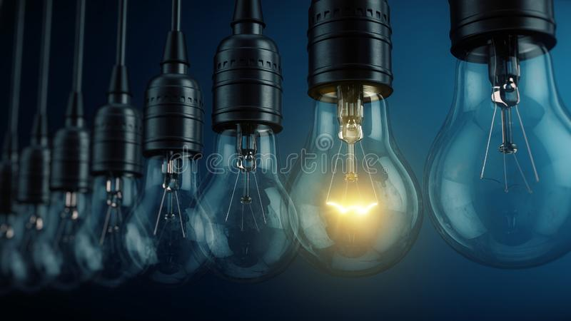 Unique, uniqueness, new idea concept - Glowing electric bulb lamp in a row of lamps. 3d rendering vector illustration