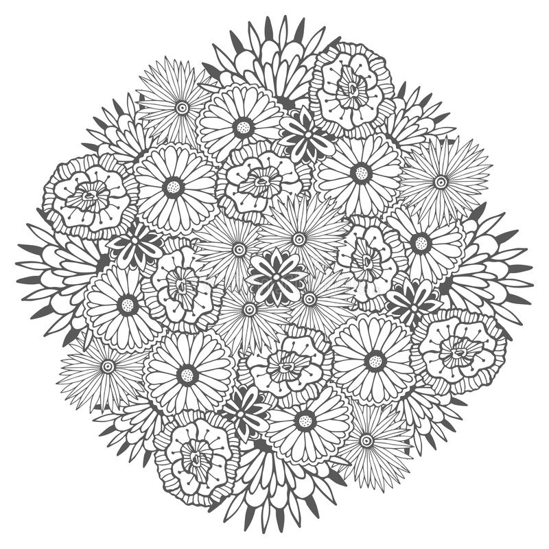 download unique vector mandala with flowers ornamental round floral zentangle for coloring book pages stock - Zentangle Coloring Book