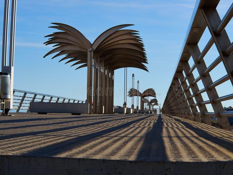 Unique view of the Alicante seafront promenade Costa Blanca Spain. Unique view of the popularAlicante seafront modern design promenade Costa Blanca Spain stock photo